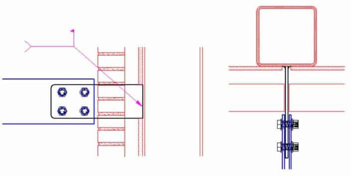 Vertical HSS member (tube steel) sunshade clip attachment