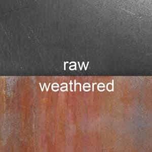 raw vs. weathered. Corten (a.k.a. COR-TEN® or weathering steel sheet metal