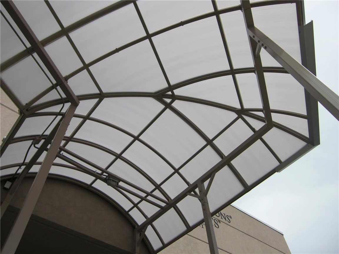 metal entrance canopy curved corner