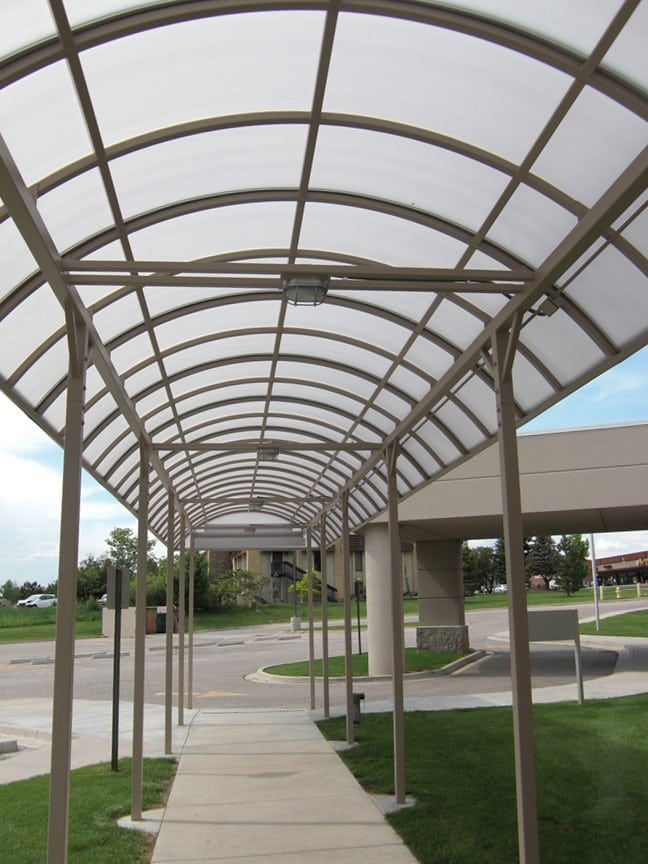 metal entrance canopy over walk