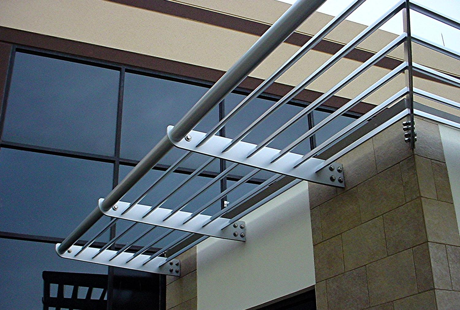 Aluminum sunshades on an office building enterance