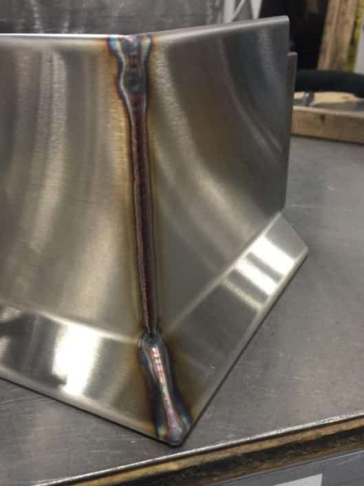 Welded Stainless Cove Base Corner before finishing
